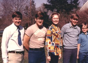 The Ziants family (L-R) John, Mike, Linda, Tom, Steve * in the backyard, Beaver Falls, PA 1969