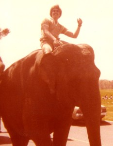 John Saint John high atop the largest elephant in the Greatest Show on Earth