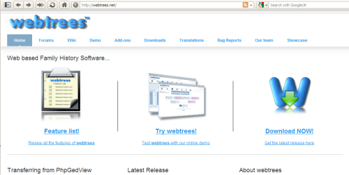 Screenshot of the webtrees homepage.