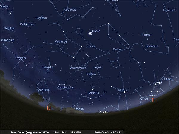 Simulai horison timur laut indonesia pada saat hujan meteor perseid bulan Ramadhan 1431 H