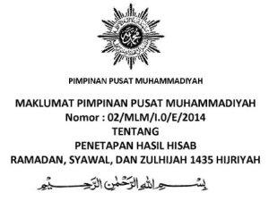 Maklumat PP Muhammadiyah tentang Ramadhan & Lebaran 1435 H