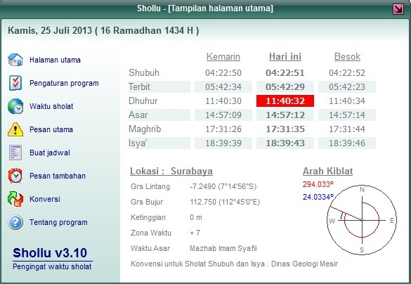 Tampilan program Shollu untuk membuat dan menampilkan jadwal waktu sholat untuk Indonesia.