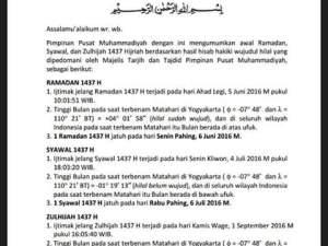 Maklumat Muhammadiyah: 1 Ramadhan 1437 H jatuh pada 6 Juni 2016