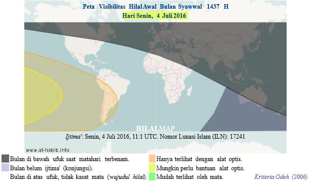 Peta Visibilitas Hilal Syawal 1437 H pada petang hari Senin, 4 Juli 2016. Hampir di seluruh dunia tidak akan bisa melihat bulan sabit kecuali di wilayah Amerika Selatan dan Samudera Pasifik dengan bantuan teleskop.