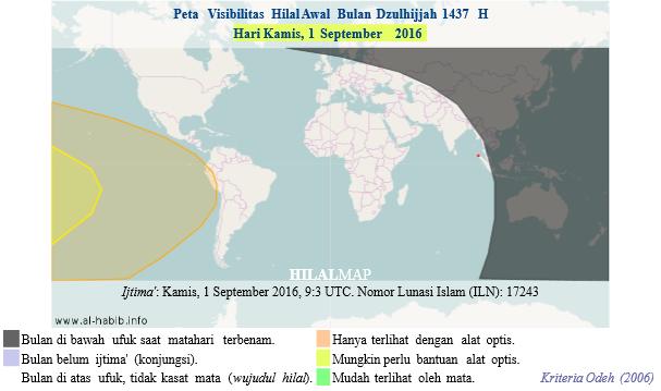 Peta visibilitas hilal Dzulhijjah 1437 H pada petang hari Kamis, 1 September 2016. Hilal kemungkinan kecil terlihat pada hari ini. (HilalMap)