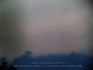Foto-foto Bulan Sabit (Hilal) Dzulhijjah 1437 H