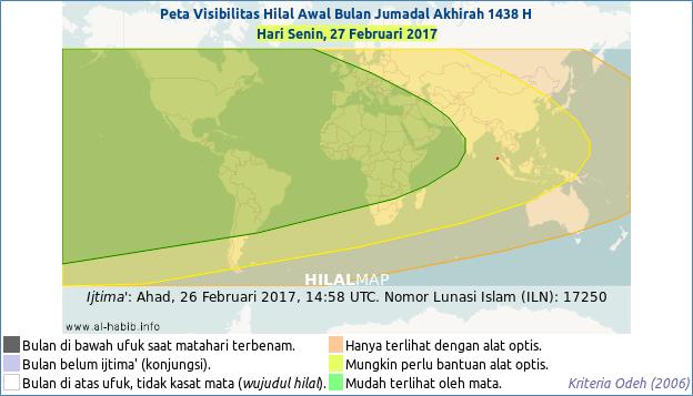 Peta kemungkinan terlihatnya bulan sabit (hilal) Jumadil Akhirah 1438 H pada petang hari Senin, 27 Februari 2017. Semua wilayah dunia kemungkinan bisa melihat bulan sabit. (HilalMap by Alhabib)