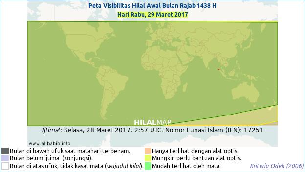 Baru pada petang hari Rabu, 29 Maret 2017, wilayah Indonesia dan Asia bisa menyaksikan bulan sabit Rajab 1438 H dengan kasat mata. (HilalMap)