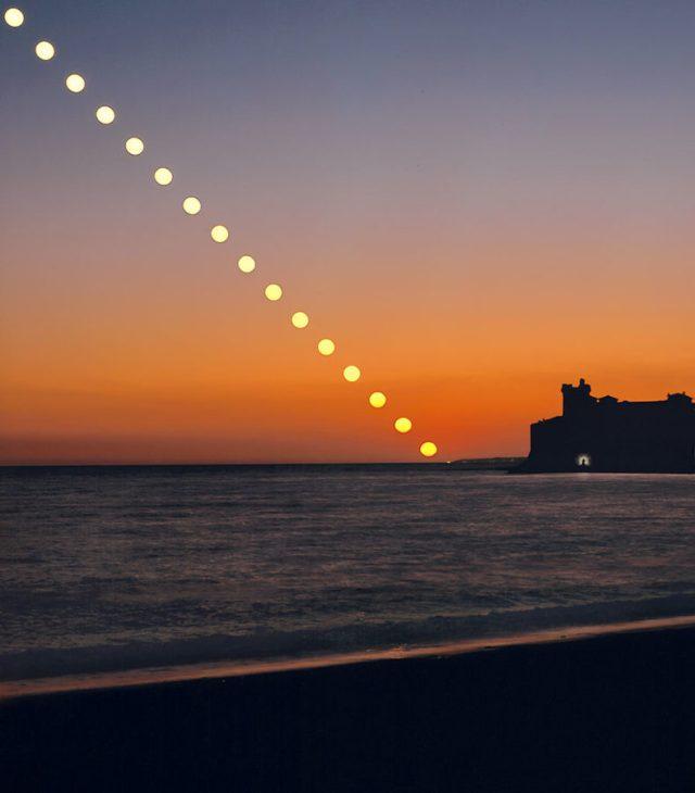 Matahari tenggelam, bukan mengecil karena perspektif.