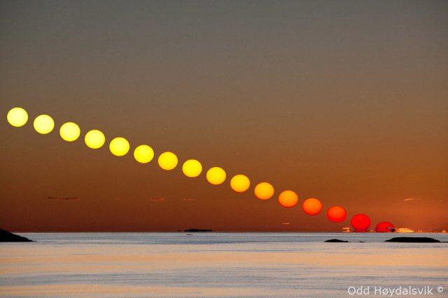 "Seri foto urutan matahari saat tenggelam. Ukuran matahari tidak terlihat mengecil atau menghilang sebagaimana dikatakan para penganut ""bumi datar""."