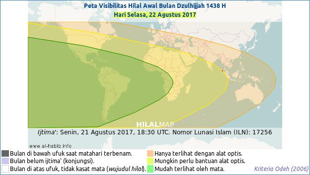 Peta Visibilitas Hilal (Bulan Sabit) untuk 1 Dzulhijjah 1438 H. Sebagian besar wilayah dunia akan bisa melihat hilal pada petang hari Selasa, 22 Agustus 2017. Dengan demikian, 1 Dzulhijjah 1438 H akan jatuh pada hari Rabu, 23 Agustus 2017 M.