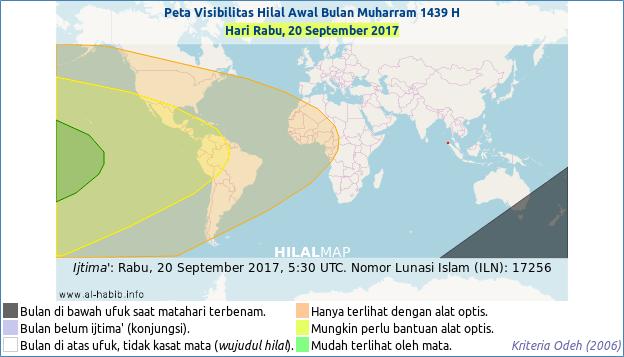 Peta visibilitas hilal 1 Muharram 1439 Hijriyah pada hari Rabu, 20 September 2017. Hanya wilayah Amerika dan baratnya yang kemungkinan bisa melihat hilal Muharram 1439 H secara kasat mata.