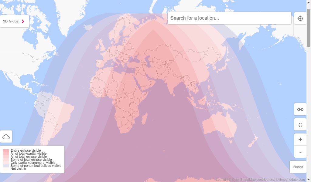 """Map showing the regions where the """"Total Lunar Eclipse"""" of 27-28 July 2018 will be visible."""