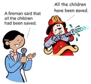 Cette image est un exemple de discours indirect en anglais.