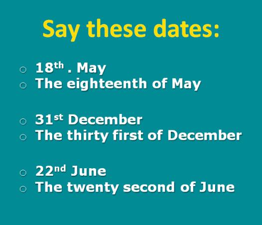Les dates en anglais.