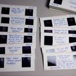 Cele 28 de slide-uri stereografice contin insemnari ale autorului.