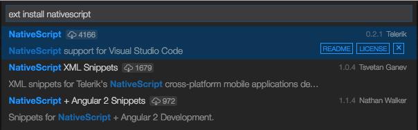 NativeScript - Debug Install Extension