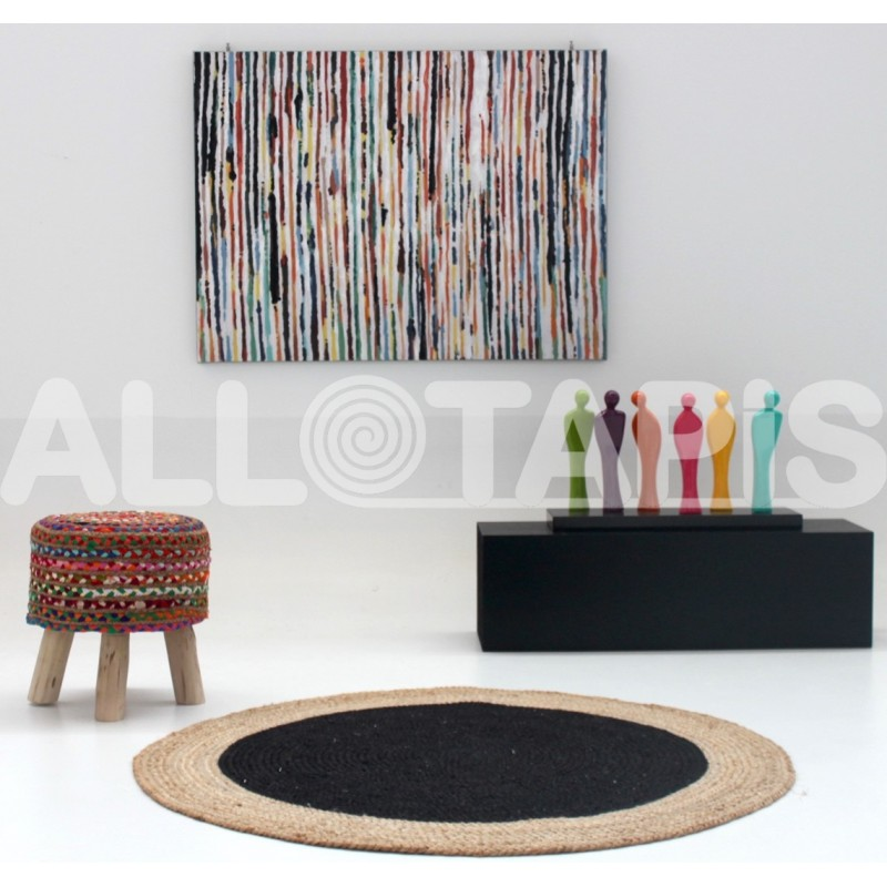un tapis rond sous une jolie table basse pour un salon. Black Bedroom Furniture Sets. Home Design Ideas