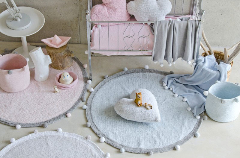 tapis-chambre-enfant-rond-rose-bubbly-lorena-canals