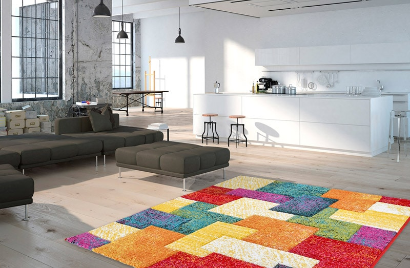 tapis à courtes meches multicolore