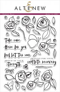 "floral Stamp Set for sympathy cards with sentiments such as ""praying for your complete recovery"", ""proud of your strength"", and ""feel better soon"""