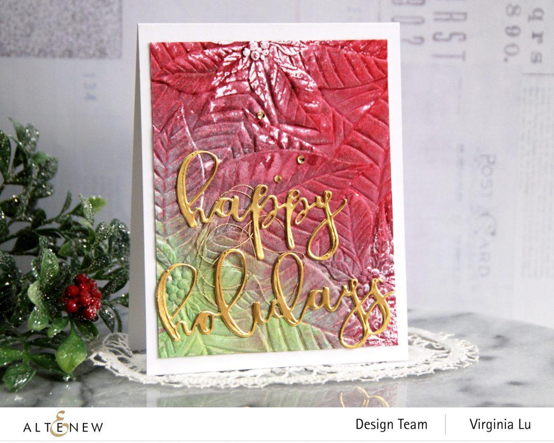 11282020-Perfect Poinsettias 3D Embossing Folder -Complete Ink Spray Bundle -Happy Holiday Die-Happy Holidays Script Die Set -001