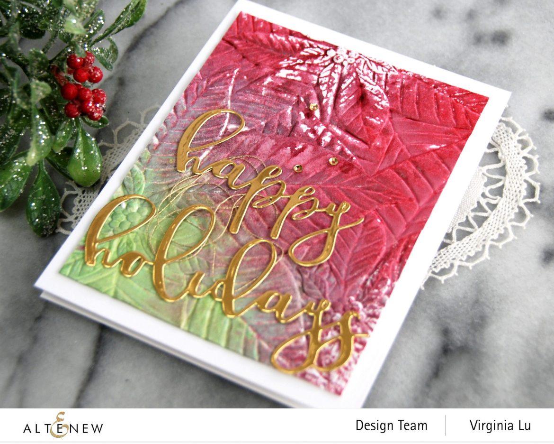 11282020-Perfect Poinsettias 3D Embossing Folder -Complete Ink Spray Bundle -Happy Holiday Die-Happy Holidays Script Die Set -002