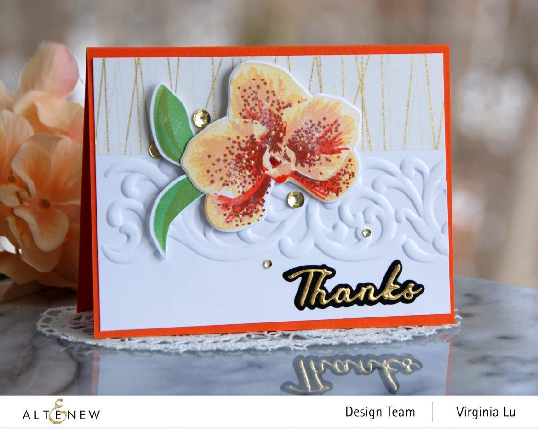 01052021-Spotted Orchid Stamp Die Mask Stencil Bundle-Simple Greetings Die Set-Swirl Motif 3D Embossing Folder