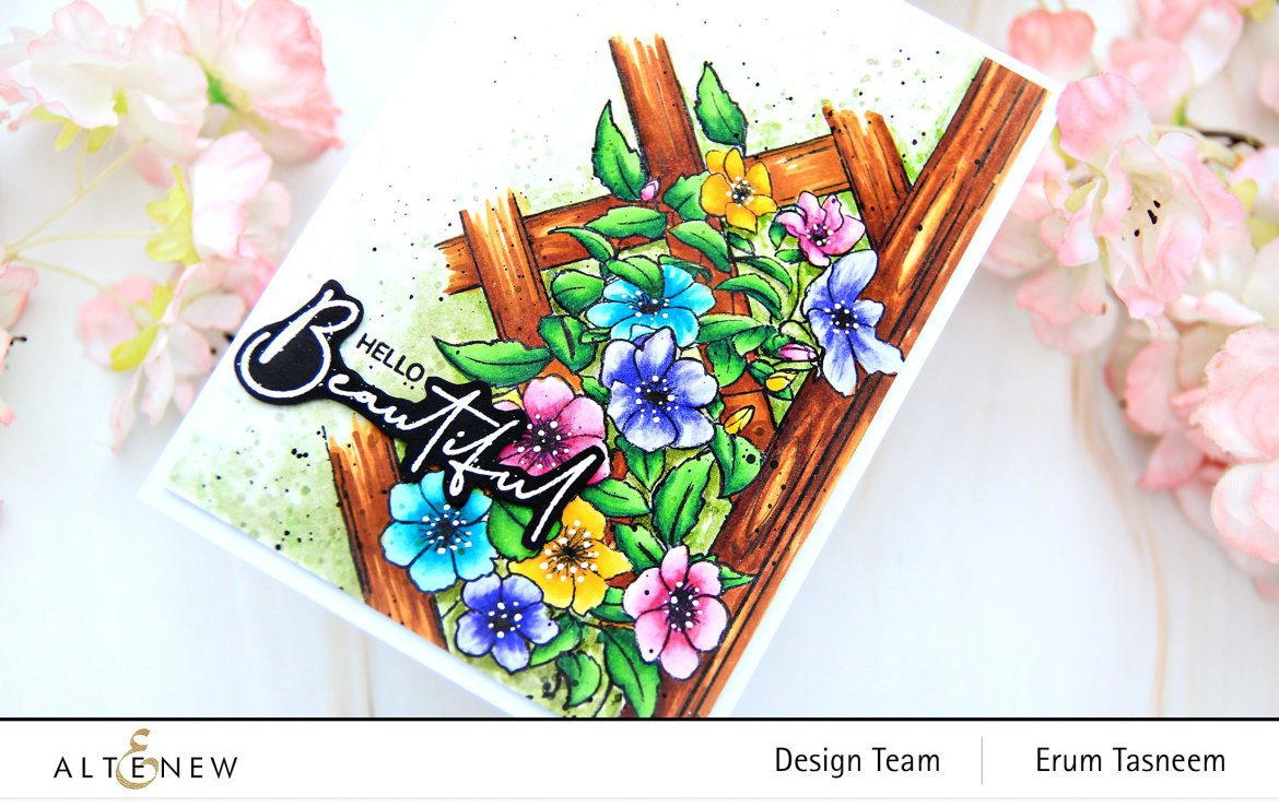 Altenew Paint-A-Flower: Clematis Stamp Set + Artist Alcohol Markers Set F & G | Erum Tasneem | @pr0digy0