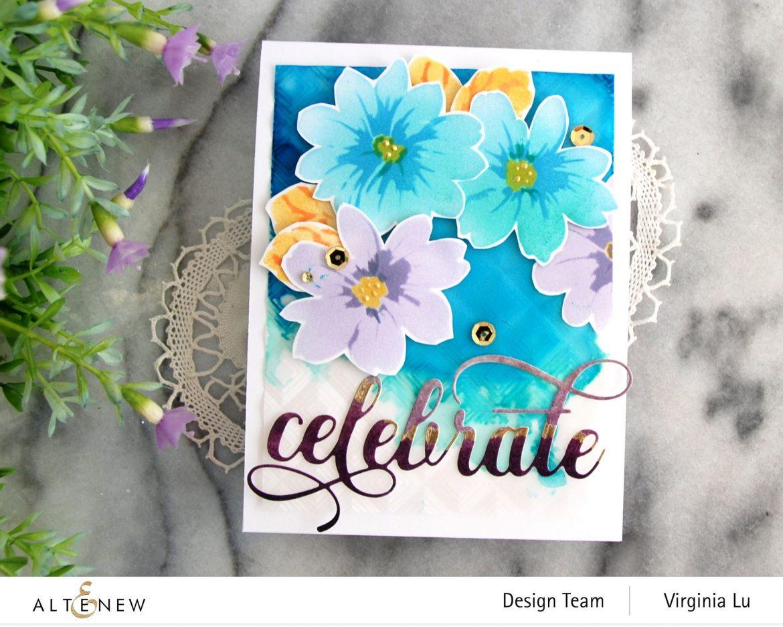 Altenew-Flower Bunch Simple Layering Stencil-Mod Square 3D Embossing Folder-Fancy Celebrate Die-Artist Marker Refill-001 (2)