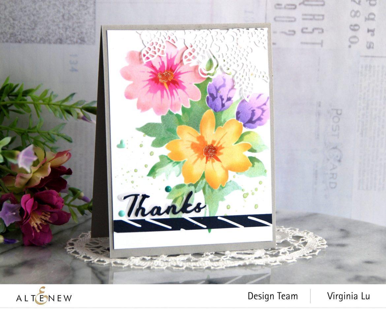 Altenew-Flower Bunch Simple Layering Stencil-Simple Greetings Die-Sweet Moments Paper Pack-Seashore Enamal Dots -004