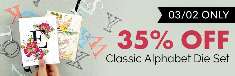 35% off classic alphabet die set