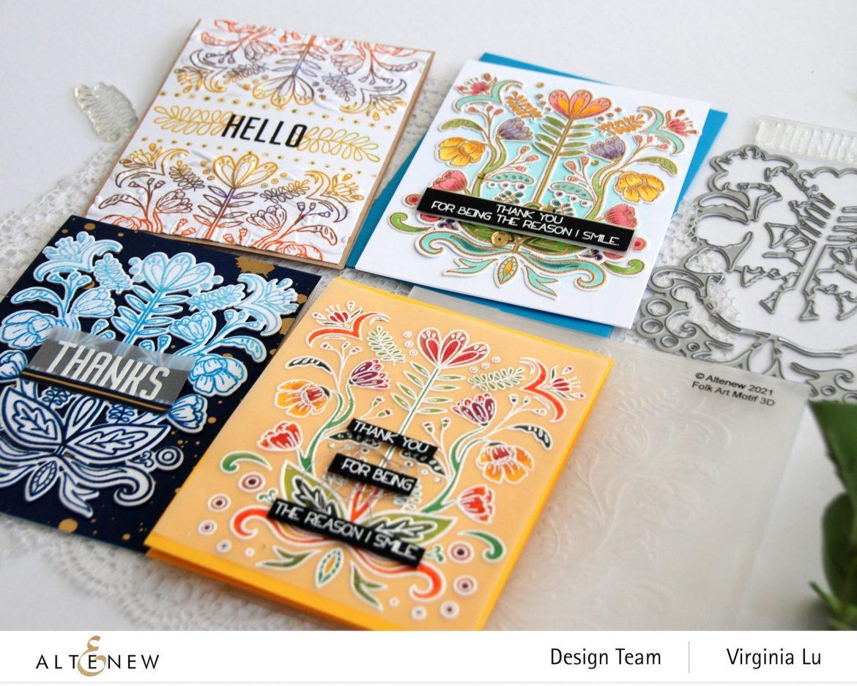 04202021-Folk Art Stamp & Die Bundle-Folk Art Motif 3D Embossing Folder -004