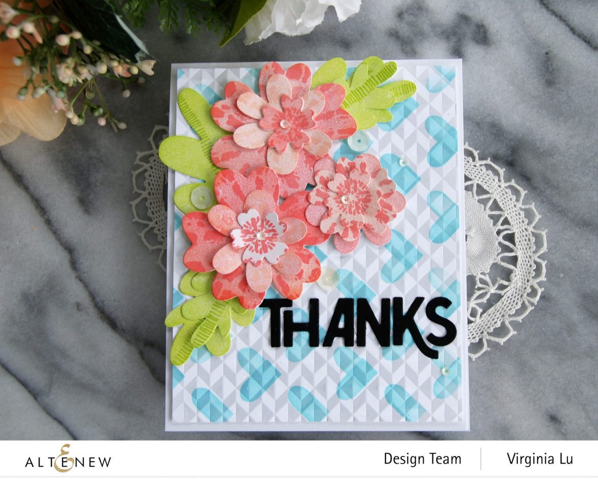Altenew-May2021Inspiration Challenge-Simple Nesting Flower Layering Die-Color Block Hearts Stencil-angled Mosaic 3D Embossing Folder-Bold Thanks Die Set-Tie Dye Motif Stamp Set-004