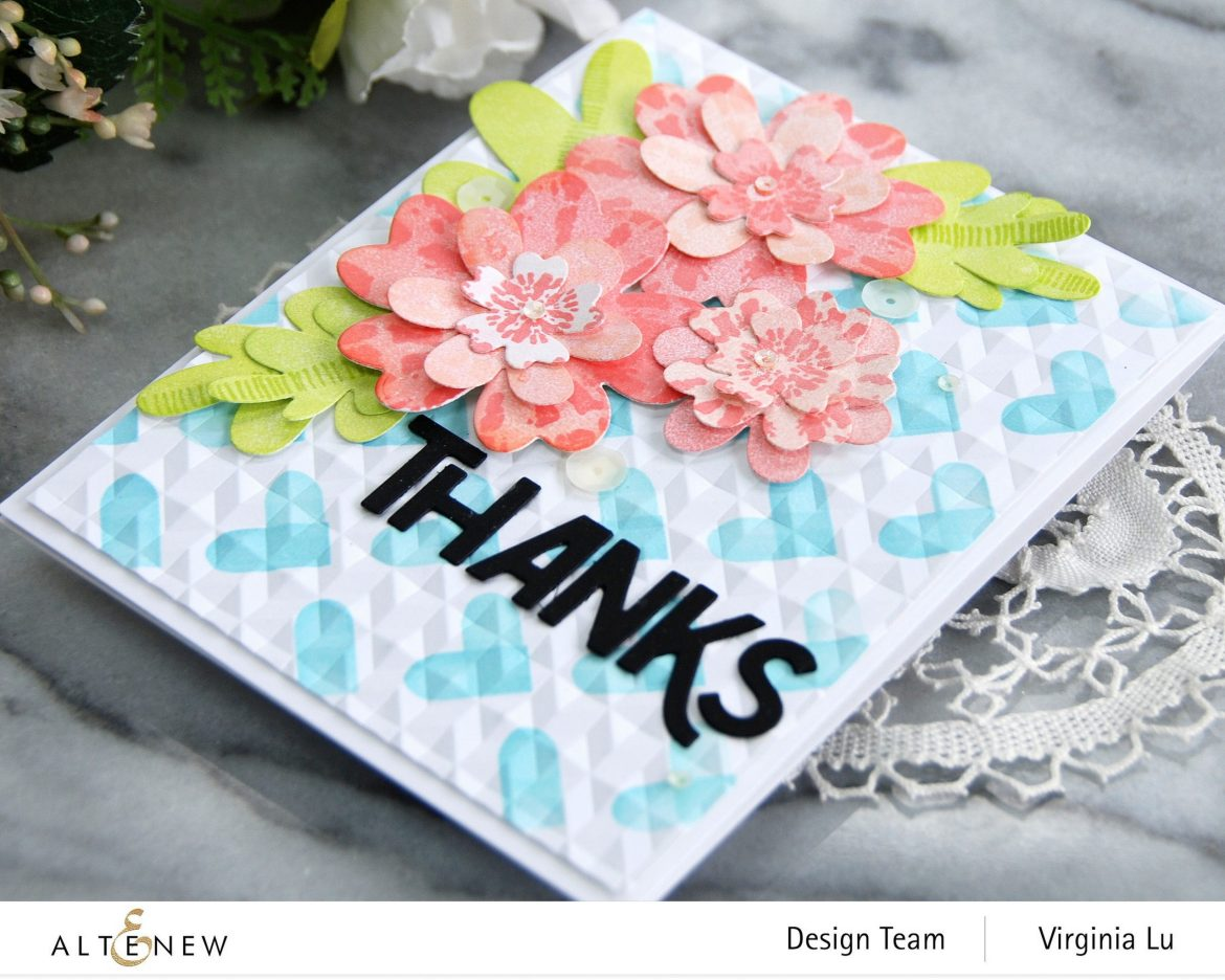 Altenew-May2021Inspiration Challenge-Simple Nesting Flower Layering Die-Color Block Hearts Stencil-angled Mosaic 3D Embossing Folder-Bold Thanks Die Set-Tie Dye Motif Stamp Set-002