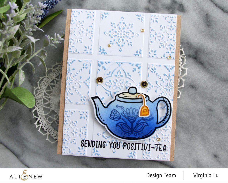 Altenew-Dreamy Tile 3D Embossing Folder-Tea For Two Stamp & Die Bundle-001