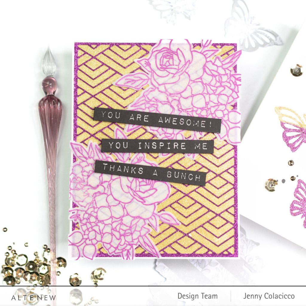 Cards featuring three ways  to use Altenew's Double-Sided Adhesive Sheets.