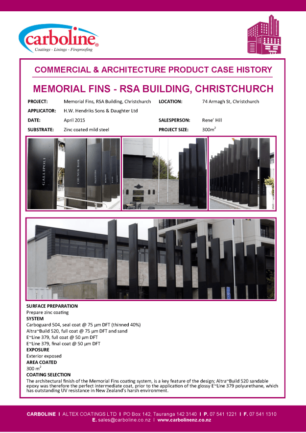 RSA Building Chch - Memorial Fins CASE HIST