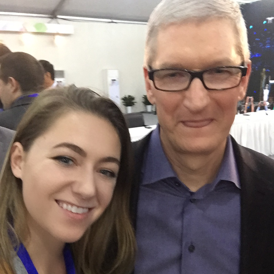 Amalie, with Tim Cook, CEO of Apple at the Global Entrepreneurial Leaders Forum (Shenzhen, China)