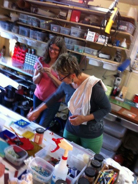 Aleta and Leslie creating something other than calendars and cards.
