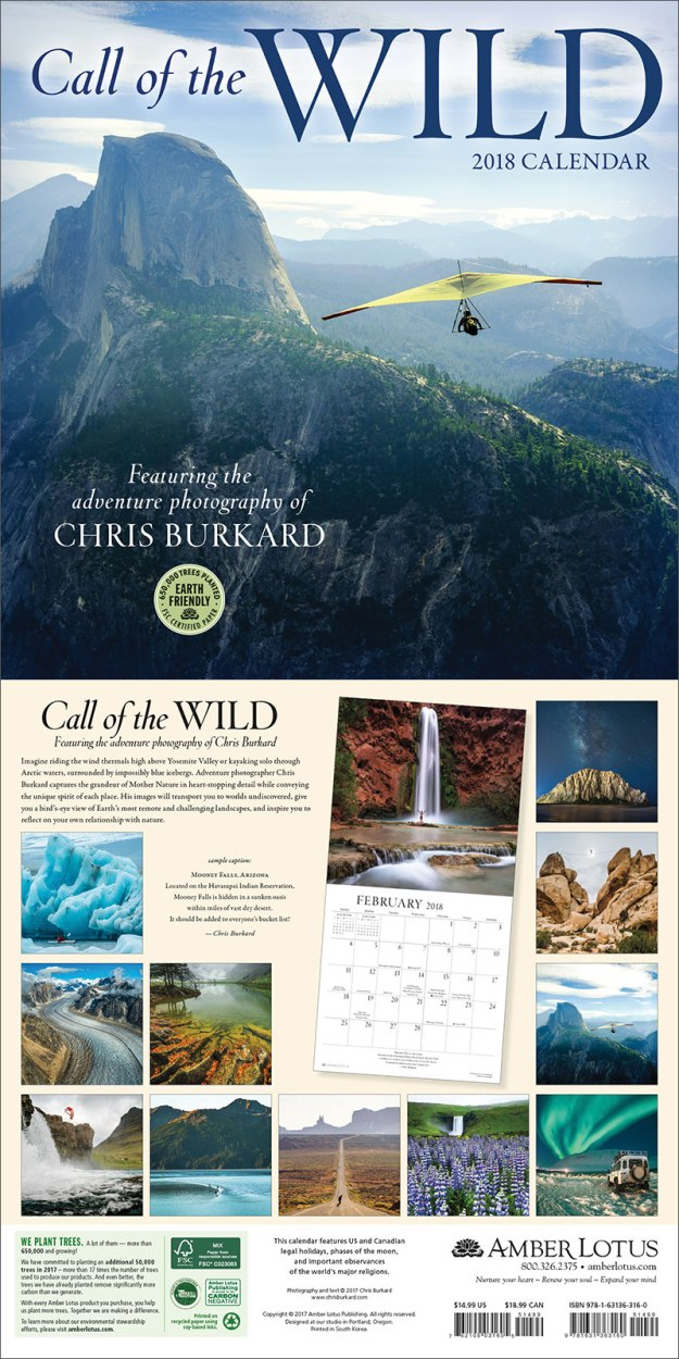 Call of the Wild 2018 calendar by Chris Burkard