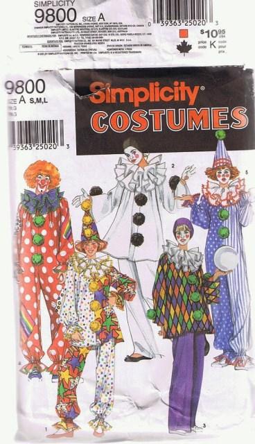 Simplicity 9800 clown costume pattern