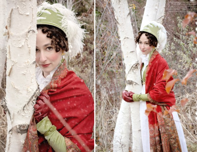 Maggie Roberts of Undressing the Historical Lady wearing Regency attire
