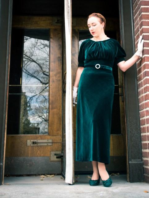 1930s velvet gown by American Duchess