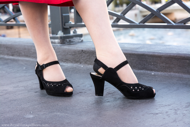 """""""Betty"""" 1940s Platform Sandals in Black Suede from RoyalVintageShoes.com (c)2016"""