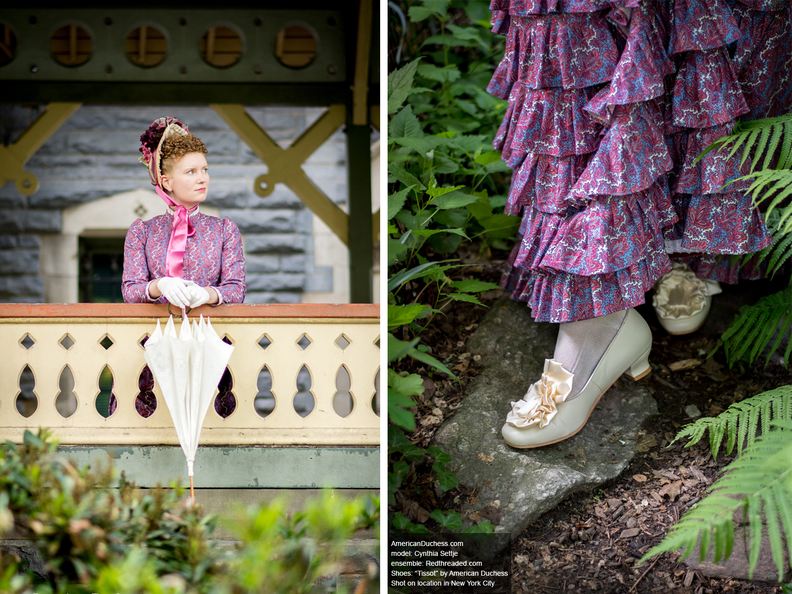 """Redthreaded bustle gown and American Duchess """"Tissot"""" Victorian shoes in New York City"""