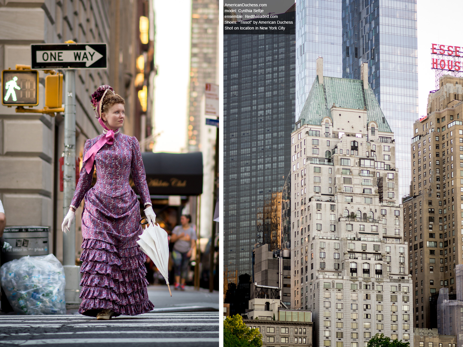 Cynthia Settje of Redthreaded in 1880s bustle dress in New York City, photographed by Lauren Stowell of AmericanDuchess.com