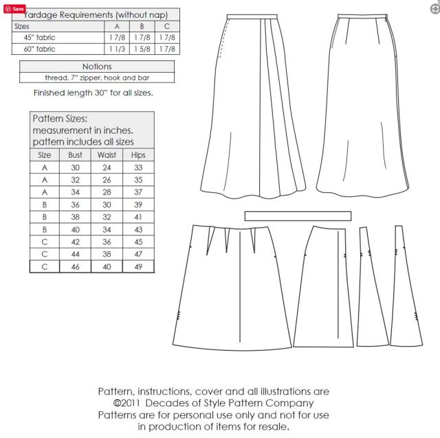 Decades of Style #3011 1930s Stardust Skirt Pattern