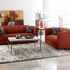 Orange Couch Living Room Ideas Colour Schemes With Grey Sofa Bold Red Set Factory Select And Loveseat American Freight