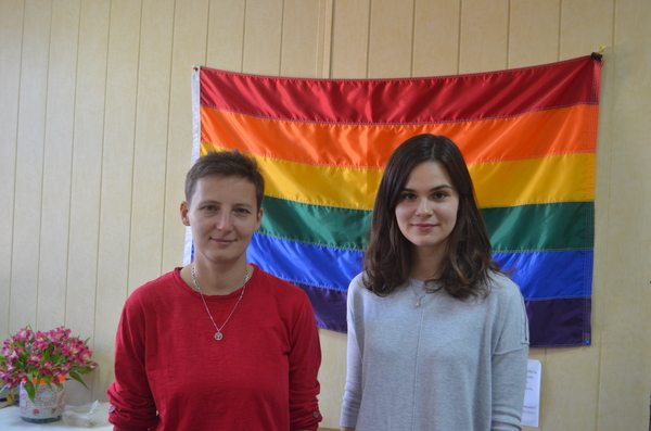 "Polina Andrianova and Anna Abramova of the Russian LGBTI organization ""Coming Out"" (« Выход ») in St Petersburg."